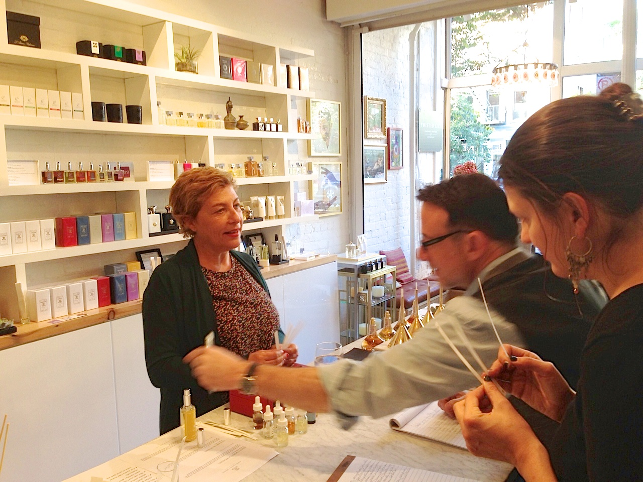 Maria Candida Gentile demonstrates her new perfumes at Twisted Lily on October 25, 2013.